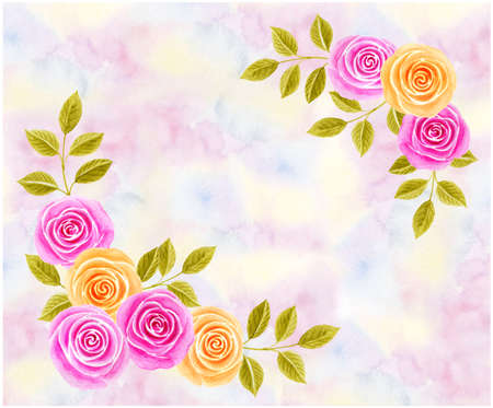 Hand drawn spring watercolor painting with pink and yellow roses flowers. Floral corner ornament on watercolor summer background.