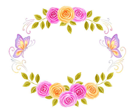 Hand drawn watercolor round frame painting with pink and yellow roses flowers bouquet and flying butterflies isolated on white background. Floral ornament. Design element.