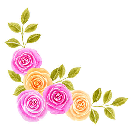 Hand drawn watercolor painting with beautiful pink and yellow roses flowers bouquet isolated on white background. Corner floral ornament. Design element.