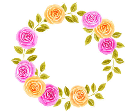 Hand drawn watercolor round frame painting with pink and yellow roses flowers bouquet isolated on white background. Floral ornament. Design element.