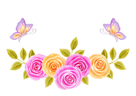 Hand drawn watercolor painting with pink and yellow roses flowers bouquet and flying butterflies isolated on white background. Floral ornament. Design element.