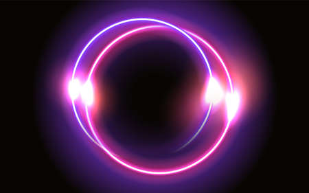 Abstract fantastic background with neon glowing round frame and shiny light space portal into another dimension. Fluorescent space border. 矢量图像