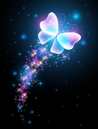 Magic butterfly with fantasy sparkle and blazing trail and glowing stars on black background 矢量图像