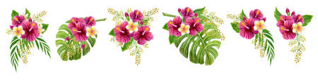 Set tropical bouquets of hibiscus rose, frangipani and greenery of monstera palm leaf and palm fronds. Exotic clipart hand drawn watercolor painting of natural leaves and flowers isolated on white