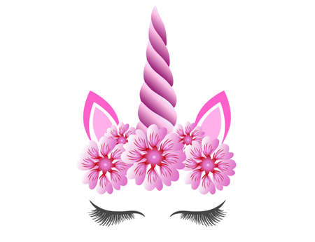 Fabulous cute unicorn with purple horn and pink flowers wreath isolated on white background. Fairy unicorn princess girl for party invitation design or holiday decor.