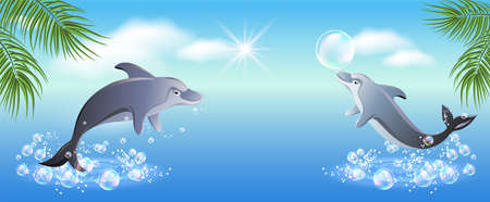 Concept for conservation of aquatic environment of oceans and seas. Ocean Protection Day. Dolphin show for day of underwater world and day of dolphins. Summer tourism theme. 矢量图像