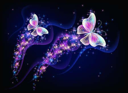 Magic two butterflies with fantasy sparkle and blazing trail and glowing stars on black background