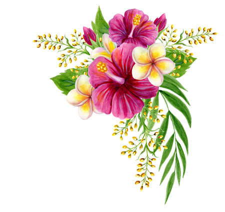Tropical bouquet of hibiscus pink rose, frangipani and greenery of palm fronds leaf. Exotic floral composition hand drawn watercolor painting of natural leaves and flowers isolated on white background 免版税图像