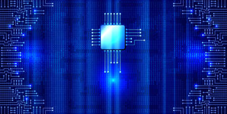 Modern electronic circuit and binary code on blue neon glowing background. Digital nano technologies concept.