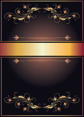 Vintage luxury background with golden floral ornament for diploma, certificate or greeting card in retro style. Invitation vector template.
