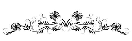 Vintage black floral ornament with butterflies and flower for decoration greeting card or tattoo isolated on white background
