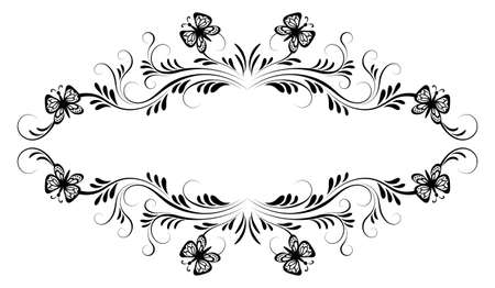 Vintage black floral frame ornament with butterflies and flower for decoration greeting card or tattoo isolated on white background Vetores
