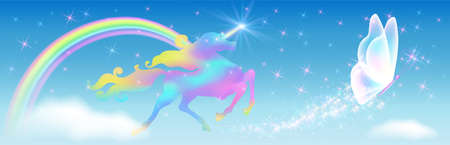 Galloping iridescent unicorn with luxurious winding mane and flying fairytale butterfly against the background of the fantasy universe with sparkling stars, clouds and rainbow