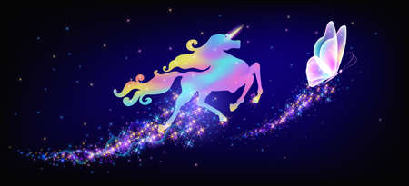 Galloping iridescent unicorn with luxurious winding mane and flying magic butterfly against the background of the fantasy universe with sparkling shine stars. 矢量图像