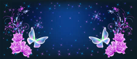 Flying delightful magical butterflies with pink roses on night sky