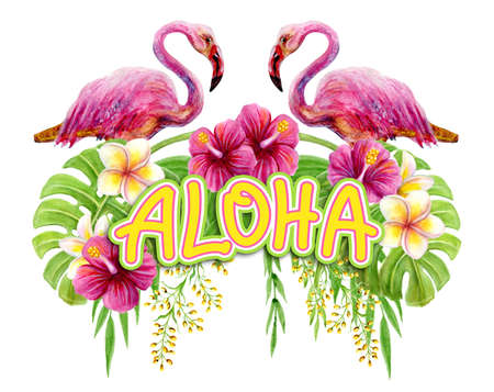 Aloha Hawaii greeting. Hand drawn watercolor painting with two pink Flamingo, Chinese Hibiscus rose flowers and palm leave isolated on white background. Tropical floral summer ornament. Design element.