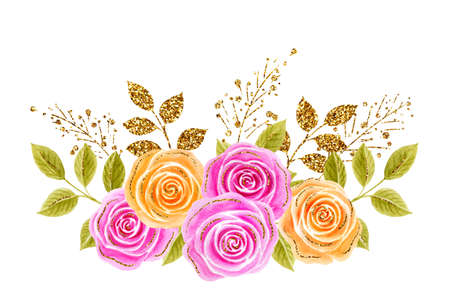 Roses flowers bouquet. Hand drawn watercolor painting with pink and yellow roses golden and glittering foliage isolated on white background. Floral ornament. Design element for greeting card. 免版税图像