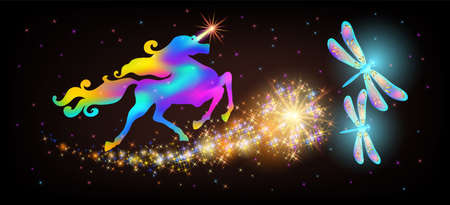 Galloping iridescent unicorn with luxurious winding mane and flying magic dragonfly
