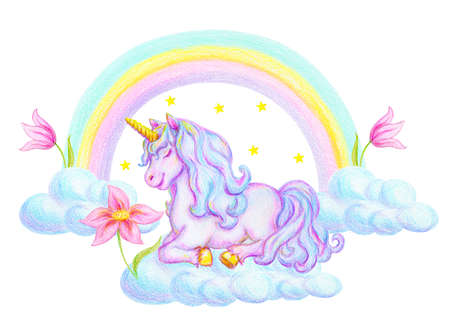 Fantasy watercolor pencil drawing of mythical sleeping Unicorn on cloud against rainbow background and fabulous flowers