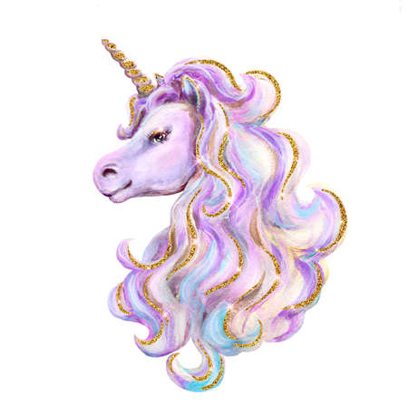 Portrait cute mythical Unicorn with luxurious glittering mane, golden glitter horn. Watercolor and acrylic Unicorn painting hand drawn illustration. Isolated on white background. 免版税图像