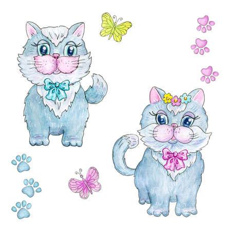 Cute kitten boy in bow tie and kitten girl with flowers. 免版税图像
