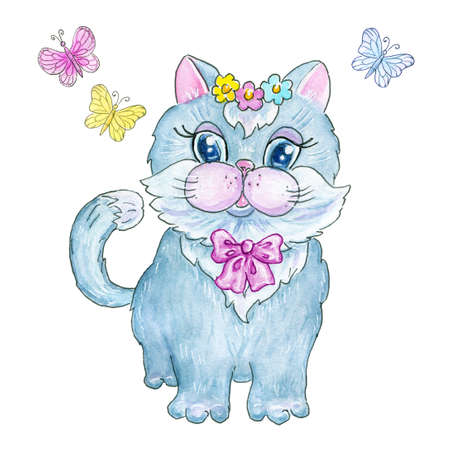 Cute kitten girl with pink bow and flowers wreath.