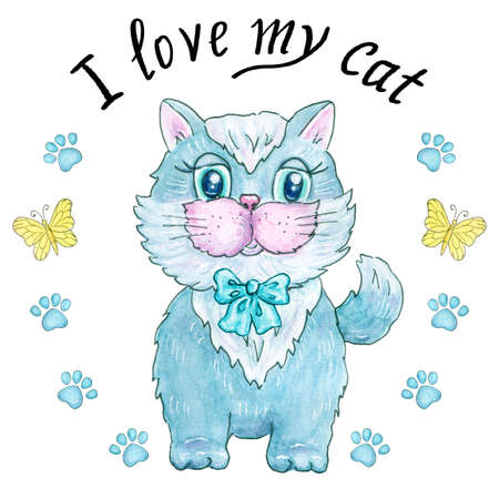 Cute kitten with blue bow, cat traces and phrase