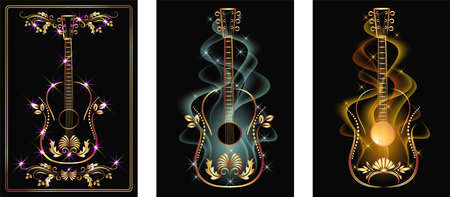 Set of golden guitar designs on dark black background with wavy smoke and glowing stars for invitation card, poster or booklet.