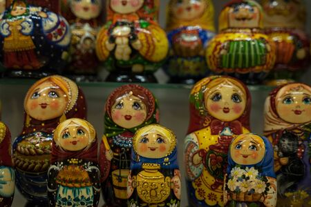 Russian nesting dolls standing in a row