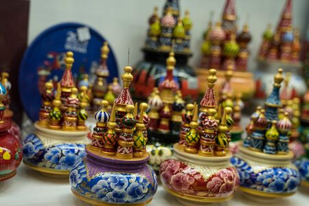 souvenirs for tourists in the form of a red square 스톡 콘텐츠