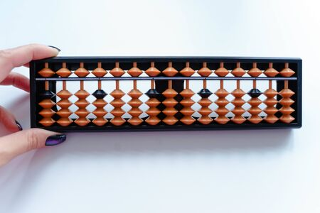 abacus for mental mathematics on a white background Zdjęcie Seryjne
