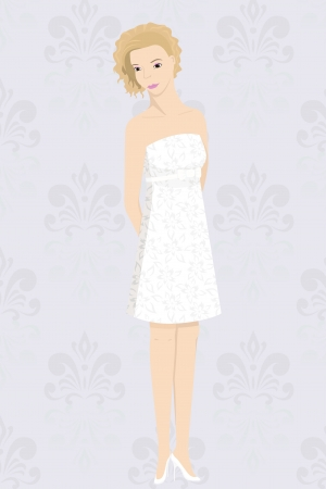 corsage: bride in mini dress Illustration