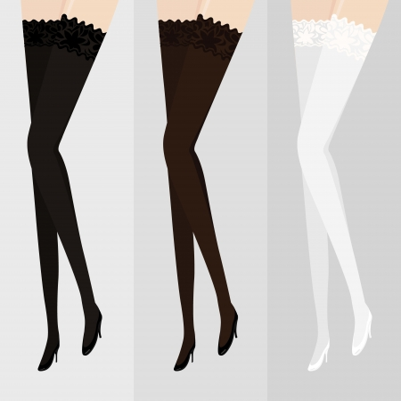 stockings and heels: illustration with stockings of three different colors