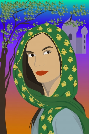 illustration of the east woman in scarf Illustration