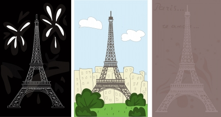 set of Eiffel tower in three different styles Stock Vector - 16120841