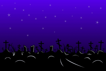 seamless border with cemetery in the night
