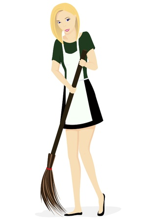 illustration of the cleaning woman isolated on white background Stock Vector - 16120853