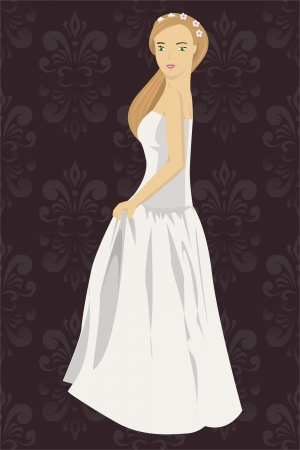 illustration of bride isolated on pattern background Stock Vector - 16120866