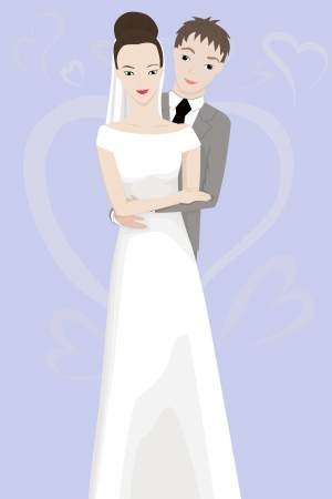 illustration of happy bride and groom
