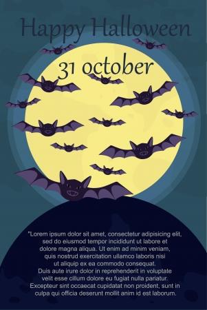 halloween card with bats Illustration
