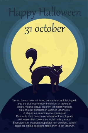 halloween card with cat Vector