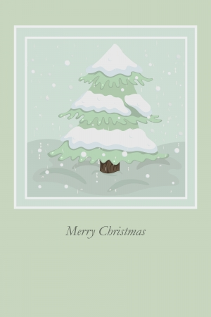grunge Christmas card with tree