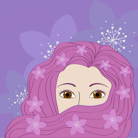 illustration of a girl with pink hair Stock Vector - 16120916