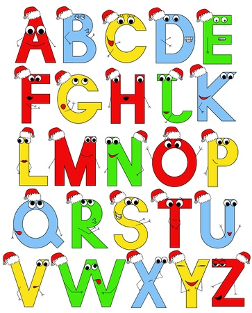 funny latin alphabet in sants caps Vector