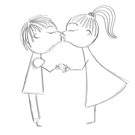 hand dawing illustration of boy and girl kiss Stock Vector - 16120959