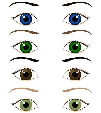 eyelid: set of cartoon eyes