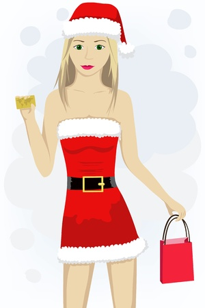 illustration of a girl with credit card in santa cap Stock Vector - 16120963