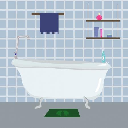 bathroom cartoon: vector illustartion of blue Bathroom