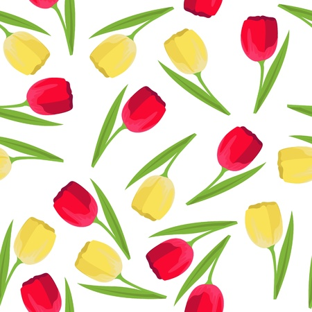 vector seamless pattern with yellow and red tulips Stock Vector - 16425961