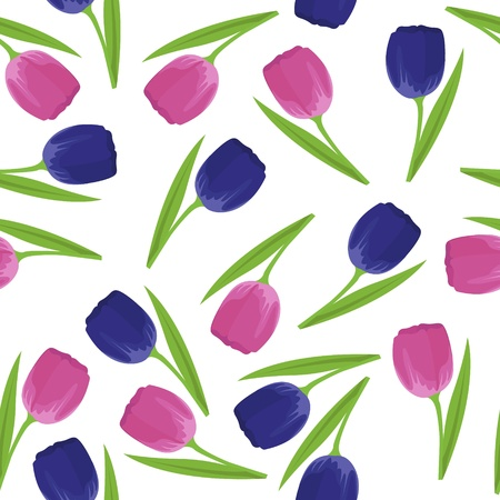 vector seamless pattern with blue and pink tulips Stock Vector - 16425962